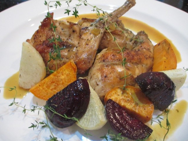 Braised rabbit with roasted root vegetables