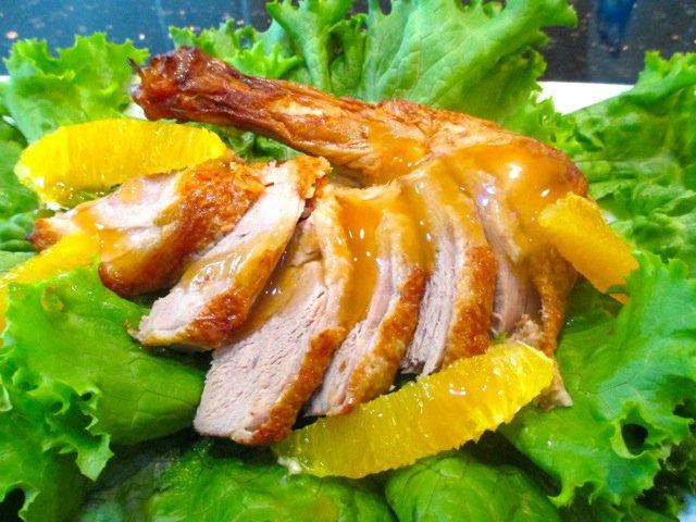 Pan-seared duck breast with orange sauce
