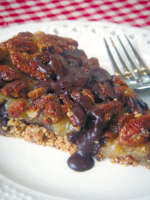 Chocolate Chip Pecan Pie with Applewood Bacon Graham Cracker Crust