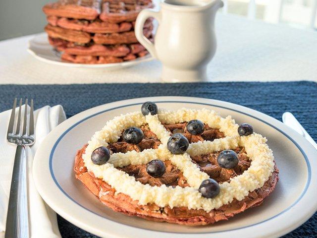 red velvet pecan waffles