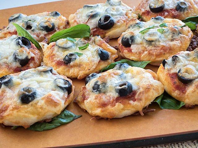 Pizzettas on a Wooden Tray